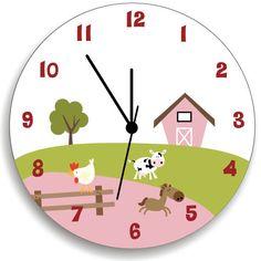 Girl Farm Animal Nursery Wall Clock Bedroom by KidODesignStudio Wall Clock Nursery, Pink Wall Clocks, Bedroom Clocks, Girl Bedroom Walls, Farm Animal Nursery, Farm Nursery, Nursery Room Decor, Boys Growth Chart, Kids Door Signs