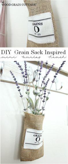 DIY Burlap Pouch w/ Grain Sack Logo   The Wood Grain Cottage