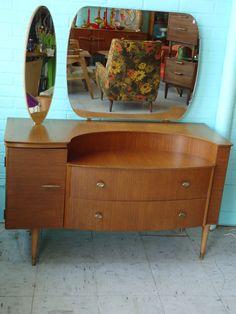 Mid Century Danish Modern Dresser Chest Cabinet Vanity w/ Mirrors Eames Era | eBay