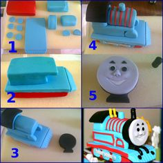 Thomas the train Tutorial with loveThomas the train Tutorial with loveThomas the train Tutorial with love Cake Topper Tutorial, Fondant Tutorial, Cake Toppers, Thomas Birthday Cakes, Thomas Cakes, Fondant Figures, Fondant Cakes, Cupcake Cakes, Cake Decorating Techniques