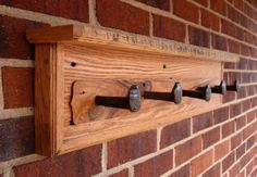 Railroad Spike Coat Rack / Shelf with plate by CornerstoneFlats