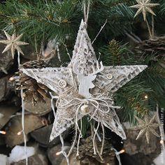 Винтажная звезда из гофрированного картона - подвеска для елочки. Обсуждение на LiveInternet - Российский Сервис Онлайн-Дневников