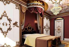 chambre style baroque et lambris en bois blanc à motifs dorés Baroque Bedroom, Modern Bedroom, Bedroom Decor, Deco Baroque, Home Bar Decor, Dream Bedroom, Valance Curtains, Home Goods, Design
