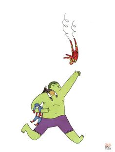 """""""HULK TIRED OF CATCH DUTY. AVENGERS NEED STOP FALLING OFF OF THINGS."""" By Gingerhaze."""