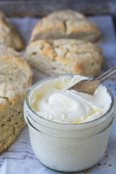 homemade clotted cream with scones