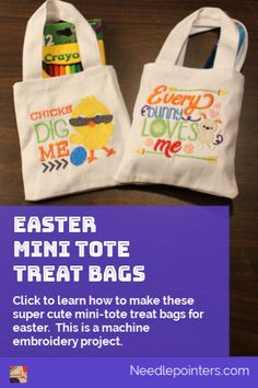 These Easter mini tote treat bags are perfect for giving small gifts or candies for the Easter holidays. Learn how to make them with your embroidery machine. Love Holidays, Easter Holidays, Projects For Kids, Craft Projects, Craft Ideas, Fun Crafts, Crafts For Kids, Machine Embroidery Projects, Types Of Craft
