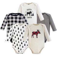 Soft and cozy, this set of 5 Moose Bodysuits from Hudson Baby make for a nice quintet of cotton comfort. Each long-sleeve outfit features a distinct design, whether it's a charming plaid moose or an allover tree print. Baby Outfits, Newborn Outfits, Kids Outfits, Baby Bear Outfit, Woman Outfits, Baby Dresses, Kids Clothes Boys, Baby & Toddler Clothing, Girl Clothing