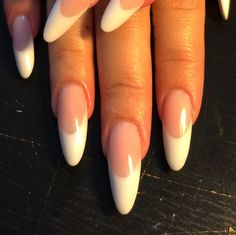 Pink and White almond-shaped l&p nails