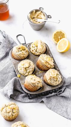 This recipe was tested four times to get moist lemon poppy seed muffins! They have the perfect amount of lemon tartness and even have a simple honey butter spread on top. This is definitely one of the best lemon poppy seed muffin recipes! Muffin Recipes, Baking Recipes, Dessert Recipes, Cake Recipes, Lemon Recipes, Sweet Recipes, Lemon Desserts, Poppy Seed Muffin Recipe, Lemon Poppyseed Muffins
