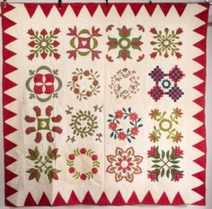 """MID-ATLANTIC SIGNED AND DATED 1853 """"FRIENDSHIP ALBUM"""" APPLIQUE QUILT, sixteen 16 1/2"""" SQ blocks each with a floral patterned sprig or wreath..."""