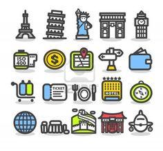 Travel,landmarks,trip,business travel icon set  Stock Photo