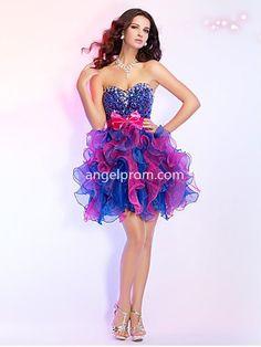 A-line Sweetheart Sleeveless Homecoming Dress With Beaded
