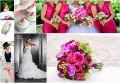 Pink wedding collage