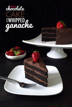Vegan Chocolate Cake With Whipped Ganache Gluten free and made with healthier ingredients! Cookies Cupcake, Cupcake Cakes, Cupcakes, Gluten Free Chocolate Cake, Tasty Chocolate Cake, Chocolate Frosting, Vegan Chocolate Ganache, Vegan Treats, Vegan Foods