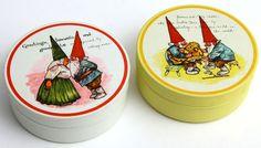 Vtg Gnome Tin Lot of 2 1980 Unieboek BV Potpourri Press Round Trinket Box Rien
