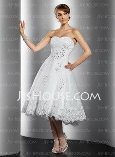 Wedding Dresses - $142.99 - A-Line/Princess Sweetheart Tea-Length Organza Satin Wedding Dresses With Ruffle Lace Beadwork (002014769) http://jjshouse.com/A-line-Princess-Sweetheart-Tea-length-Organza-Satin-Wedding-Dresses-With-Ruffle-Lace-Beadwork-002014769-g14769