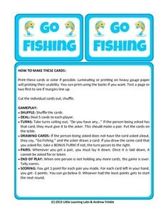 Forest animals wild animals and card games on pinterest for Go fish instructions