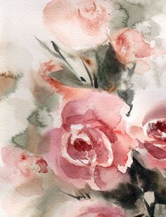#Roses #Watercolor Painting Original Watercolor Painting Floral Modern #Watercolour Art Color theme: pink, green  One of a Kind Artwork  Medium: top branded watercolor paints ... #trend #etsy #gallery #art #featured #painting #watercolor #roses #aquarelle #watercolour