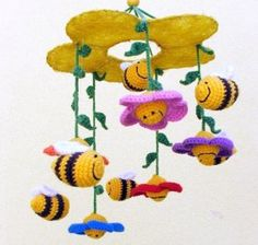 crochet baby mobile with flowers and bees - colorful nursery decor, Nursery :: Mobiles :: https://www.thebabyburp.com