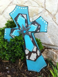 Items similar to Wood Wall Cross - Large Western Wood Cross - Turquoise Cowprint Wood Wall Cross - Home Decor on Etsy Wooden Crosses, Crosses Decor, Wall Crosses, Painted Crosses, Decorative Crosses, Cross Love, Western Crafts, Cross Art, Cross Crafts