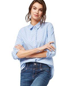 Bluse ganzflächig gemustert mit Hemdblusenkragen   TOM TAILOR   ADLER Mode Onlineshop Toms, Tom Tailor, Trends, Buttons, Fashion, Eagle, Moda, Fashion Styles, Fashion Illustrations