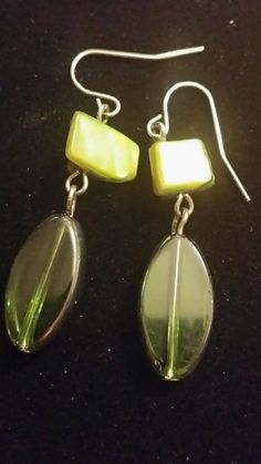 Items for sale by Dangle Earrings, Pierced Earrings, Retro Costume, Dangles, Flats, Green, Beading, Vintage, Jewelry