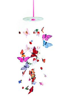 a butterfly mobile tutorial at color me kate. Its made with ribbon, button, a cd, and assorted butterflies, birds and bees. This site will make you smile. #craft #DIY #mobile