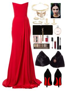 """""""Untitled #1168"""" by maria-canas ❤ liked on Polyvore featuring Alex Perry, Yves Saint Laurent, Christian Louboutin, Michael Kors, Urban Decay, Chanel, Gucci, Couture Colour, Allurez and Lana Jewelry"""