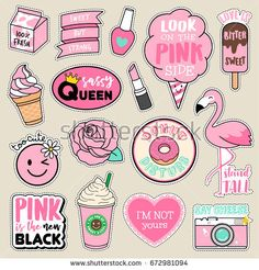Set of fashion patches, cute pink badges, fun cartoon icons vector  in pink motivation concept