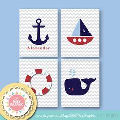 PERSONALIZED Boys Room Wall Art Set of 4 Nautical Prints Ocean Sea • Digital File • 8 x 10 Digital Poster - Customized Nursery - Home Decor