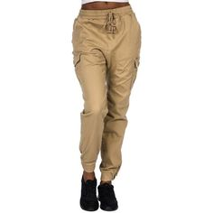 Essentials Twill Cargo Jogger Pant ($26) ❤ liked on Polyvore featuring pants, brown pants, twill trousers, cargo jogger pants, twill pants and brown trousers