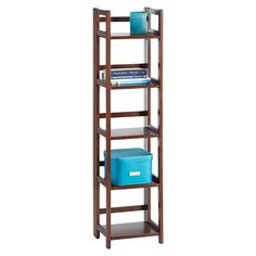 Enjoy free shipping on all purchases over $75 and free in-store pickup on the Java Solid Wood Folding Tower at The Container Store. Go vertical for those small spaces with our Solid Wood Folding Tower. An economical and attractive solution for knick knacks, towels, and general storage, it's also easy to transport or store and the tower folds flat when not in use. It features gently rounded corners for a soft, tailored appearance with a small-footprint design. Simply fold-out its' five...