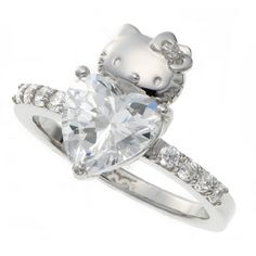 Love ring? Yes, I am in love with it... Sanrio Hello Kitty Swarovski Heart Love Ring Silver Japanlimited RARE New | eBay