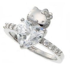 Sanrio Hello Kitty Swarovski Heart Love Ring Silver Japanlimited RARE New | eBay