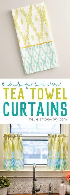 Making tea towel curtains couldn't be more simple! Just two straight lines of sewing per curtain and you have curtains that help you maintain privacy in a totally cute way.