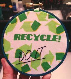 Recycle Do It Embroidered Wall Hoop by StitchesOnTheRadio on Etsy, $10.00