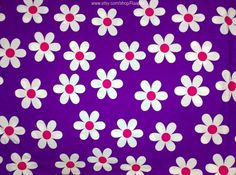 Large Floral Print Fabric Violet Daisies Extra Wide