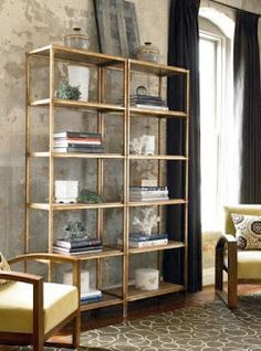 Ikea bookcase painted gold. Love.