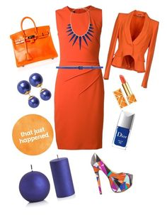 """""""orange just happened!"""" by emi-the-queen ❤ liked on Polyvore featuring Narciso Rodriguez, Liliana, Hermès, Pieces, Kenneth Jay Lane, Tory Burch, Christian Dior, Crate and Barrel, MaxMara and Alexander McQueen"""
