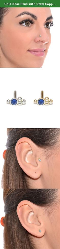 Gold Nose Stud with 2mm Sapphire 16 gauge / Cartilage Stud, Daith Piercing. Simple, delicate and very stylish 14k gold filled sapphire nose stud earring. This is a simple and classic piece of jewelry for everyday wear. It can be used for earlobe, cartilage, helix and tragus piercing as well. *The listing is for one stud (not for a pair) *Post shapes available L Shape, Left Screw (for left nostril), Right Screw (for right nostril), Earlobe post - 11mm, Tragus post - 9mm *Gauges (wire...