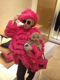 Lady Gaga with her Poodle friend