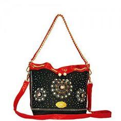 Utrendo Handtasche California. Ausgefallenes Jeans Denim Design mit brillianten Strass Kristallen und Leder Look in rot.