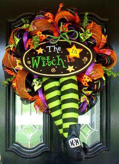 Deco Mesh Halloween The Witch Is In Door by JoyfullyYoursWreaths, $110.00