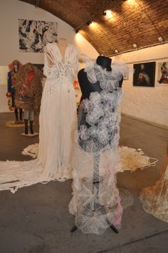 Eternal Lace Wedding Dress, needle made lace, created using waste plastic bags. Seams Exhibition, Sept 2014