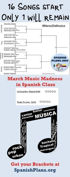 A bracket template with 16 songs in Spanish for March Music Madness at… Spanish Songs, Ap Spanish, Spanish Culture, Spanish Lessons, Learn Spanish, Spanish Games, Spanish Teaching Resources, Spanish Activities, Spanish Language Learning