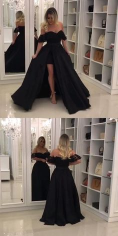 Elegant Black Lace Off The Shoulder Prom Dresses With Leg Slit