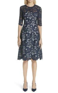 60b9b44f12ec (eBay Sponsored) $1295 Lela Rose Navy Holly Lace A-Line Dress Size 10