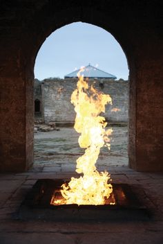 Atashgah Zoroastrian Fire Temple, Baku, Azerbaijan. It is a castle-like religious structure in Surakhani, a suburb of greater Baku, located on the Absheron peninsula, which is famous for oil oozing out of the ground naturally, as well as for natural oil fires.  [http://en.wikipedia.org/wiki/Ateshgah_of_Baku]
