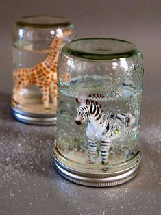 Mason Jar Glitter Snow Globes