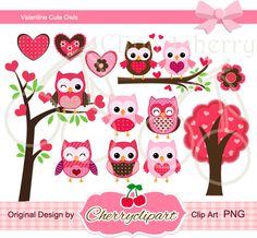 Valentine Cute Owls  Digital Clipart Set-Personal and Commercial Use-paper crafts,card making,scrapbooking,web design. $5.00, via Etsy.